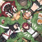 4girls animal_ears arknights arms_behind_head cellphone closed_eyes croissant croissant_(arknights) exusiai_(arknights) fingerless_gloves food from_above gloves grass gun hand_on_forehead highres horns jacket kataokasan lying multiple_girls name_tag on_back one_eye_closed phone pie pocky self_shot sora_(arknights) submachine_gun tail texas_(arknights) v weapon wings