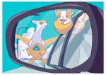 alternate_color bird blue_eyes border car claws clouds commentary_request fangs gen_3_pokemon gen_8_pokemon green_eyes ground_vehicle highres lamppost latias legendary_pokemon looking_at_another mirror motor_vehicle no_humans open_mouth parted_lips pokemon pokemon_(creature) rear-view_mirror reflection saiku_(zvlku) shiny shiny_pokemon tongue tongue_out white_border window yamper