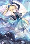 1girl bangs bare_shoulders blonde_hair blue_dress blue_eyes blue_flower blue_gloves blue_rose blush breasts commentary_request craft_essence dress elbow_gloves eyebrows_visible_through_hair fate/apocrypha fate_(series) floating_hair flower gloves holding jeanne_d'arc_(fate) jeanne_d'arc_(fate)_(all) jewelry kousaki_rui large_breasts layered_dress long_hair looking_at_viewer necklace ponytail rose see-through shawl sleeveless sleeveless_dress smile solo tiara very_long_hair wind