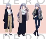 1girl :d arm_up bangs black_footwear black_shirt black_skirt blue_pants blush boots brown_jacket brown_pants closed_mouth clothes_writing derodero eyebrows_visible_through_hair grey_jacket hair_between_eyes hand_in_pocket hands_together head_tilt high_heel_boots high_heels higuchi_kaede interlocked_fingers jacket long_hair long_skirt long_sleeves multiple_views nijisanji open_clothes open_jacket open_mouth own_hands_together pants ponytail ribbed_shirt sandals shirt shoes sidelocks silver_hair skirt sleeves_past_wrists smile sneakers very_long_hair virtual_youtuber white_shirt yamabukiiro