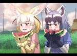 2girls animal_ear_fluff animal_ears bangs black_gloves black_hair blonde_hair blush brown_eyes bush commentary_request common_raccoon_(kemono_friends) eating elbow_gloves extra_ears eyebrows_visible_through_hair fang fennec_(kemono_friends) food fox_ears fruit gloves grass grey_hair heitai_gensui kemono_friends letterboxed multicolored_hair multiple_girls open_mouth outdoors power_lines puffy_short_sleeves puffy_sleeves raccoon_ears short_hair short_sleeves two-tone_hair upper_body watermelon white_hair yellow_gloves