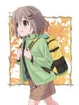 1girl autumn_leaves backpack bag black_shirt brown_hair brown_skirt commentary_request decocharaseal green_eyes green_jacket hair_ornament hairclip hands_on_own_chest highres jacket outdoors shirt short_hair skirt smile solo walking yama_no_susume yukimura_aoi