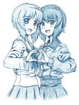 2girls arm_around_waist bangs bbb_(friskuser) blouse blue_theme commentary cropped_torso eyebrows_visible_through_hair fading girls_und_panzer grey_shirt heart heart_hands highres insignia kuromorimine_school_uniform long_sleeves looking_at_viewer monochrome multiple_girls neckerchief nishizumi_maho nishizumi_miho ooarai_school_uniform open_mouth pleated_skirt school_uniform serafuku shirt short_hair siblings sisters skirt smile symmetrical_hand_pose