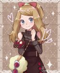 1girl bag bare_shoulders blue_eyes blush bow box brown_dress clenched_hand closed_mouth clothing_cutout commentary dress eyelashes eyewear_removed gift gift_box grey-framed_eyewear hairband handbag hands_up heart highres holding holding_gift incoming_gift light_brown_hair long_hair pokemon pokemon_(game) pokemon_masters_ex red_bow serena_(pokemon) shiny shiny_hair shoulder_cutout signature smile solo sparkle sunglasses suzunya