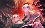2girls ass bare_shoulders black_legwear blonde_hair blush body_markings breasts demon demon_girl demon_horns demon_tail demon_wings elbow_gloves fangs gloves glowing glowing_eyes hangetsuban_sonshou horns large_breasts long_hair looking_at_viewer multiple_girls open_mouth original pointy_ears red_eyes smile tail thigh-highs wings