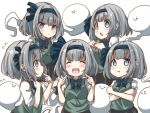 5girls :3 :o black_headband black_neckwear blue_eyes bow bowtie crossed_arms dot_nose expressionless expressions eyebrows_visible_through_hair green_vest hair_bow headband highres konpaku_youmu konpaku_youmu_(ghost) looking_at_viewer multiple_girls multiple_persona open_mouth pegashi pout shirt short_hair short_sleeves smile touhou vest white_background white_hair white_shirt