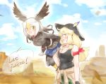 2girls :d armband bald_eagle_(kemono_friends) bangs bare_shoulders black_gloves black_hair black_headwear black_legwear black_tank_top blonde_hair blue_skirt clothes_around_waist commentary_request english_text engrish_text eyebrows_visible_through_hair gloves guest-san_(kemono_friends_3) hair_between_eyes hat head_wings kemono_friends kemono_friends_3 long_hair long_sleeves low_twintails moeki_(moeki0329) multicolored_hair multiple_girls open_mouth pantyhose pleated_skirt ranguage skirt smile speech_bubble twintails white_hair yellow_eyes
