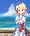 1girl ame. arm_behind_back azur_lane bangs beret blonde_hair blue_headwear blue_sailor_collar blue_sky blush boots bow closed_mouth clouds collarbone commentary_request day eyebrows_visible_through_hair frills hand_up hat highres horizon iron_cross ocean outdoors pink_bow pleated_skirt sailor_collar school_uniform serafuku shirt skirt sky smile solo standing stone_wall tilted_headwear violet_eyes wall water white_footwear white_shirt white_skirt z23_(azur_lane)
