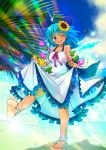 .sin 1girl ;d alternate_costume anklet bare_arms barefoot blue_hair blue_sky blurry bow cirno clouds commentary_request day depth_of_field dress dress_lift eyebrows_visible_through_hair flower food foreshortening frilled_skirt frills fruit hair_between_eyes hair_bow hair_flower hair_ornament halter_dress highres horizon jewelry leg_lift lens_flare lifted_by_self looking_at_viewer morning_glory ocean one_eye_closed open_mouth outdoors palm_leaf peach pearl_anklet plant skirt sky sleeveless sleeveless_dress smile solo sparkle splashing spread_toes standing standing_on_one_leg sunflower_hair_ornament tanned_cirno touhou vines water_drop white_dress wings