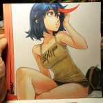 1girl bare_legs black_hair blue_eyes breasts camisole casual commentary cross-eyed crossed_legs english_commentary kill_la_kill lips looking_to_the_side marker_(medium) matoi_ryuuko medium_breasts multicolored_hair omar_dogan redhead short_hair short_shorts shorts sitting solo streaked_hair traditional_media