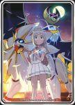 1girl blonde_hair gen_7_pokemon green_eyes highres lillie_(pokemon) lunala official_art pokemon pokemon_(game) pokemon_sm skirt solgaleo sparkle