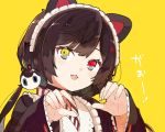 1girl :3 animal_ears apron bangs black_hair black_kimono blush claw_pose commentary dog_ears dog_hair_ornament dot_nose eyebrows_visible_through_hair fangs hands_up heterochromia inui_toko japanese_clothes kimono lace-trimmed_sleeves looking_at_viewer low_twintails maid_headdress namo_(goodbyetears) nijisanji open_mouth red_eyes simple_background sleeves_past_wrists solo twintails upper_body wa_maid wide_sleeves yellow_background yellow_eyes