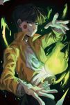 1boy black_eyes black_hair blush_stickers bokuken dark_background dirty_clothes ekubo_(mob_psycho_100) fire green_fire grin hand_up highres jacket kageyama_shigeo male_focus mob_psycho_100 orange_jacket possessed shirt smile solo spirit standing white_shirt