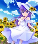 1girl akatsuki_(kantai_collection) alternate_costume bare_shoulders clouds cloudy_sky commentary_request dress eyebrows_visible_through_hair flower hat kantai_collection kashiwadokoro long_hair looking_at_viewer outdoors purple_hair skirt skirt_lift sky sleeveless sleeveless_dress solo sundress sunflower violet_eyes white_dress