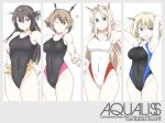 4girls armpits arms_up black_hair black_swimsuit blonde_hair blue_eyes breasts brown_hair colorado_(kantai_collection) competition_swimsuit cowboy_shot green_eyes hairband headgear kantai_collection large_breasts long_hair multiple_girls mutsu_(kantai_collection) nagato_(kantai_collection) nelson_(kantai_collection) one-piece_swimsuit red_eyes short_hair side_braids souji split_theme swimsuit white_swimsuit