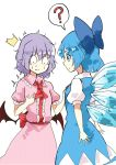 (o)_(o) /\/\/\ 2girls ? bat_wings blouse blue_dress blue_eyes blue_hair blue_ribbon blue_skirt bow breast_conscious breasts cirno closed_mouth collar commentary_request deetamu dress eyebrows_visible_through_hair fairy_wings fang frilled_collar frilled_dress frilled_skirt frills hair_bow hand_on_another's_chest hand_on_own_chest highres ice ice_wings lavender_hair looking_at_breasts looking_down multiple_girls pink_dress puffy_short_sleeves puffy_sleeves remilia_scarlet ribbon sash shirt short_hair short_sleeves simple_background skirt skirt_set standing surprised touhou vest white_background white_shirt wings