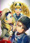 3girls anchor_hair_ornament anchor_necklace bangs beret black_bow black_gloves black_headwear blonde_hair blue_eyes blue_shawl blue_shirt blush bow brown_eyes brown_hair closed_mouth collared_shirt commandant_teste_(kantai_collection) commentary_request eyebrows_visible_through_hair fingerless_gloves gambier_bay_(kantai_collection) gloves hair_between_eyes hair_bow hair_ornament hairband hairclip hammer_and_sickle hat jacket kantai_collection kyon_(fuuran) long_hair looking_at_viewer low_twintails multicolored multicolored_clothes multicolored_hair multicolored_scarf multiple_girls open_mouth papakha pom_pom_(clothes) red_shirt redhead scarf shirt simple_background smile standing star streaked_hair swept_bangs tashkent_(kantai_collection) torn_scarf twintails v wavy_hair white_background white_jacket white_scarf