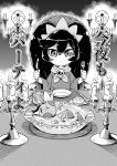1girl ashley_(warioware) big_hair candle closed_eyes demon greyscale hairband intelligent_systems loli monochrome nintendo red_(warioware) skull stuffed_animal stuffed_bunny stuffed_toy tokkyuu_mikan translated tsundere utensil warioware what