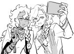 2boys braid cellphone dark_skin dark_skinned_male fate/grand_order fate_(series) greyscale long_hair look-alike male_focus marisbury_animusphere monochrome multiple_boys naoaka open_mouth phone self_shot single_braid smartphone smile solomon_(fate/grand_order) taking_picture v