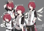 1girl arknights dog_tags earphones earphones english_text exusiai_(arknights) fingerless_gloves gloves grin hair_over_one_eye halo hand_behind_head hand_in_pocket highres kataokasan multiple_views name_tag one_eye_closed petting redhead short_hair smile wings