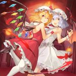 2girls :d adapted_costume backless_outfit bangs bare_arms bare_shoulders bat_wings black_footwear blonde_hair blue_hair bow commentary_request crystal dress eyebrows_visible_through_hair feet_out_of_frame flandre_scarlet hair_between_eyes hands_up hat hat_bow highres indoors leg_up looking_at_viewer mary_janes mob_cap multiple_girls one_eye_closed open_mouth pantyhose parted_lips petticoat red_bow red_eyes red_skirt red_vest remilia_scarlet rin_falcon shoes short_hair siblings sisters skirt skirt_set sleeveless sleeveless_dress smile standing standing_on_one_leg thighs touhou vest white_dress white_headwear white_legwear wings wrist_cuffs