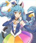 1girl animal_ear_fluff animal_ears black_neckwear blue_gloves blue_hair blue_shirt braid cat_ears cat_tail choker cowboy_shot cure_cosmo earrings elbow_gloves gloves hat jewelry long_hair looking_at_viewer magical_girl mini_hat mini_top_hat multicolored multicolored_clothes multicolored_hair multicolored_skirt orange_eyes pink_hair precure rainbow_skirt shirt skirt sleeveless sleeveless_shirt smile solo star_twinkle_precure streaked_hair tail tail_ring top_hat twin_braids two-tone_hair utaori yuni_(precure)