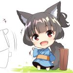 +++ 1girl :d afterimage animal_ears bangs barefoot black_hair blue_kimono chibi commentary_request eyebrows_visible_through_hair fox_ears fox_girl fox_tail japanese_clothes kimono long_sleeves obi open_mouth original red_eyes sash short_hair sidelocks smile solo_focus suitcase tail tail_raised waving white_background wide_sleeves yuuji_(yukimimi)