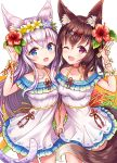 2girls :d ;d animal_ear_fluff animal_ears blue_eyes blush breasts brown_hair cat_ears cat_girl cat_tail choker collarbone cowboy_shot dress flower fox_ears fox_girl fox_tail hair_flower hair_ornament hand_up head_wreath hibiscus holding_hands long_hair looking_at_viewer medium_breasts multiple_girls one_eye_closed open_mouth original purple_flower red_eyes red_flower sakura_ani side-by-side silver_hair small_breasts smile tail white_dress x_hair_ornament yellow_flower