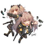 2girls :d armband bangs black_bow black_footwear black_gloves black_jacket black_skirt boots bow brown_eyes brown_hair brown_legwear chibi collared_shirt commentary dated dress_shirt explosive eyebrows_visible_through_hair fingerless_gloves girls_frontline gloves grenade gun h&k_ump45 h&k_ump9 hair_between_eyes hair_ornament holding holding_gun holding_weapon hood hood_down hooded_jacket jacket long_hair looking_away multiple_girls necktie object_namesake one_side_up open_clothes open_jacket open_mouth outstretched_arm pantyhose pleated_skirt scar scar_across_eye shirt short_sleeves signature skirt smile tama_yu twintails ump45_(girls_frontline) ump9_(girls_frontline) v-shaped_eyebrows very_long_hair weapon white_shirt yellow_eyes yellow_neckwear