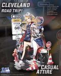 1girl :d alternate_costume asymmetrical_legwear azur_lane bangs black_choker black_legwear black_skirt blonde_hair blue_shit blush boots breasts choker cleveland_(azur_lane) clothes_writing collarbone eyebrows_visible_through_hair eyewear_removed ground_vehicle hair_between_eyes hand_in_pocket headphones highres holding holding_eyewear hood hood_down hooded_jacket jacket long_hair moped motor_vehicle official_art one_side_up open_clothes open_jacket open_mouth parted_bangs red_eyes sign single_sock single_thighhighs skirt small_breasts smile socks solo stop_sign sunglasses torn_clothes torn_legwear traffic_cone very_long_hair visor_cap white_footwear white_jacket