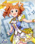 character_name dress green_eyes idolmaster_million_live!_theater_days long_hair orange_hair smile takatsuki_yayoi twintails