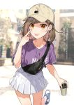 1girl akanbe baseball_cap bendy_straw blurry blurry_background breasts brown_hair brown_headwear clothes_writing collarbone cup depth_of_field disposable_cup drinking_straw earrings fanny_pack fingernails hat holding holding_cup jewelry long_hair looking_at_viewer original outdoors pleated_skirt purple_shirt red_eyes shirako_miso shirt shoes short_sleeves skirt small_breasts solo standing standing_on_one_leg tongue tongue_out white_skirt