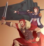 2boys abeberries absurdres bara beard blue_eyes brown_hair cape chest epaulettes facial_hair fate/grand_order fate_(series) highres leather long_sleeves male_focus military military_uniform multiple_boys muscle napoleon_bonaparte_(fate/grand_order) pectorals redhead rider_(fate/zero) scar simple_background smile uniform