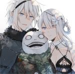 1girl 2boys bangs blue_eyes braid breasts chain closed_mouth emil_(nier) eyebrows_visible_through_hair eyes_visible_through_hair floral_print flower fur_trim green_scarf grey_eyes hair_between_eyes hair_flower hair_ornament hand_on_another's_head highres kaine_(nier) kurosawa_kazuto multiple_boys nier_(series) nier_(young) open_mouth parted_lips scarf simple_background smile teeth tied_hair white_background white_flower white_hair