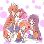 blue_eyes blue_skirt doki_doki_literature_club green_eyes hug kneeling long_hair looking_at_viewer monika_(doki_doki_literature_club) natsuki_(doki_doki_literature_club) orange_hair orange_vest pink_eyes pink_hair purple_hair red_ribbon ribbon sayori_(doki_doki_literature_club) school_uniform shirt sitting skirt standing takeuchi_kou violet_eyes white_shirt yuri_(doki_doki_literature_club)
