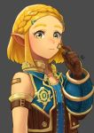 1girl absurdres armlet bandaid bandaid_on_face bandaid_on_shoulder bare_shoulders black_background blonde_hair blue_vest blush braid brown_gloves closed_mouth cosplay crown_braid forehead gloves green_eyes hair_ornament hairclip highres looking_at_viewer open_clothes open_vest pointy_ears princess_zelda rex_(xenoblade_2) rex_(xenoblade_2)_(cosplay) rv_(gvdn7245) scratching_cheek sidelocks simple_background solo the_legend_of_zelda the_legend_of_zelda:_breath_of_the_wild the_legend_of_zelda:_breath_of_the_wild_2 unzipped upper_body vest