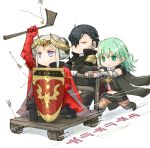 1boy 2girls armor arrow axe black_hair byleth_(fire_emblem) byleth_(fire_emblem)_(female) cart double_bun edelgard_von_hresvelg fire_emblem fire_emblem:_three_houses green_hair hair_over_one_eye hubert_von_vestra medium_hair multiple_girls red_armor robaco running shield silver_hair simple_background speed_lines tiara