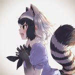 1girl :d animal_ear_fluff animal_ears artist_name black_hair black_neckwear brown_eyes commentary_request common_raccoon_(kemono_friends) elbow_gloves extra_ears eyebrows_visible_through_hair fangs fur_collar gloves gradient gradient_background gradient_gloves grey_hair hands_together kemono_friends leaning_forward looking_at_viewer multicolored_hair open_mouth profile puffy_short_sleeves puffy_sleeves raccoon_ears raccoon_tail short_hair short_sleeves simple_background smile solo striped_tail tail takami_masahiro twitter_username white_hair