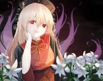 1girl black_background black_dress blonde_hair breasts bright_pupils cacao_devil chinese_clothes commentary_request dress energy eyebrows_visible_through_hair flower fox_tail hair_between_eyes hat head_in_hand head_tilt junko_(touhou) light_particles lily_(flower) long_hair looking_at_viewer medium_breasts multiple_tails parted_lips red_eyes sitting solo tabard tail touhou upper_body very_long_hair