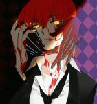 1boy 1girl aki_integra alternate_costume bangs blood blood_on_face blood_splatter blouse breasts caress collarbone collared_shirt eyebrows_visible_through_hair fate/grand_order fate_(series) fujimaru_ritsuka_(female) gloves glowing glowing_eyes glowing_nails hair_ornament hair_scrunchie hands_on_another's_face highres jacket lips mephistopheles_(fate/grand_order) necktie one_side_up orange_hair scrunchie serious shirt side_ponytail teeth yellow_eyes yellow_nails