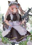 1girl 404_logo_(girls_frontline) animal_ears apron bangs bell black_dress black_legwear blush brown_hair cat_ears closed_mouth cowboy_shot dress eyebrows_visible_through_hair fake_animal_ears girls_frontline gloves gun h&k_ump h&k_ump45 hair_between_eyes hair_ornament hanato_(seonoaiko) hand_on_hip heckler_&_koch highres holding holding_gun holding_weapon jingle_bell light_smile long_hair looking_at_viewer maid one_side_up pantyhose puffy_short_sleeves puffy_sleeves scar scar_across_eye short_sleeves smile sparkle submachine_gun twintails twitter_username ump45_(girls_frontline) weapon white_gloves yellow_eyes