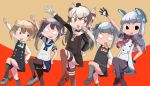 5girls akebono_(kantai_collection) amatsukaze_(kantai_collection) bell black_eyes black_legwear blue_sailor_collar blue_skirt brown_dress dancing dilated_pupils dress flower garter_straps gloves green_neckwear grey_hair hair_bell hair_bun hair_flower hair_ornament hair_ribbon hair_tubes hand_up headgear jingle_bell kantai_collection kasasuke88 kasumi_(kantai_collection) leg_up light_brown_hair long_hair looking_to_the_side michishio_(kantai_collection) multiple_girls murakumo_(kantai_collection) neck_ribbon necktie pantyhose pinafore_dress pleated_skirt purple_hair red_legwear red_neckwear red_ribbon remodel_(kantai_collection) ribbon sailor_collar sailor_dress school_uniform serafuku shirt short_dress short_eyebrows short_sleeves short_twintails side_ponytail sidelocks silver_hair single_glove skirt striped striped_legwear thigh-highs thighband_pantyhose tress_ribbon twintails two-tone_background two_side_up very_long_hair white_gloves white_shirt windsock