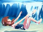 1girl barefoot brown_eyes brown_hair from_side glowing glowing_eyes hoshizora_ayase long_hair low_twintails one-piece_swimsuit original red_eyes school_swimsuit shark swimsuit toes twintails underwater water