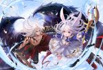 1boy 1girl ahoge animal_ears arm_up black_gloves black_pants black_wings blue_gloves blue_sleeves dress elin_(tera) feathered_wings feathers gloves highres huge_filesize ji-hyun_ro long_hair muscle official_art open_mouth pants pink_eyes rabbit_ears red_eyes silver_hair staff sword tera_online topless wallpaper weapon white_dress wings