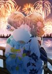 2girls aerial_fireworks animal_print bangs blue_flower blurry blurry_background blush bridge brown_eyes brown_hair colored_eyelashes commentary_request depth_of_field eye_contact eyebrows_visible_through_hair fan fingernails fireworks fish_print floral_print flower goldfish_print hair_between_eyes hair_flower hair_ornament highres holding holding_fan imminent_kiss japanese_clothes kimono long_hair looking_at_another multiple_girls obi original paper_fan print_kimono profile red_flower sash sheepd signature standing striped uchiwa vertical-striped_kimono vertical_stripes white_flower white_kimono white_nails yuri