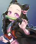 1girl bamboo bangs bit_gag black_hair blush bouhouji braid brown_hair commentary_request fingernails forehead gag gradient_hair hair_ribbon japanese_clothes kamado_nezuko kimetsu_no_yaiba kimono long_hair multicolored multicolored_hair multicolored_nails nail_polish obi open_clothes orange_nails parted_bangs pink_eyes pink_kimono pink_nails pink_ribbon ribbon sash short_sleeves solo twin_braids wide_sleeves