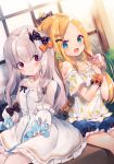 2girls :d abigail_williams_(fate/grand_order) alternate_costume ana_(rznuscrf) bags_under_eyes bangs black_bow blonde_hair blue_shorts blush bow bubble_tea casual closed_mouth commentary_request cup detached_sleeves disposable_cup dress drinking_straw dutch_angle earrings fate/grand_order fate_(series) fingernails forehead hair_bow highres holding holding_cup horn jewelry lavinia_whateley_(fate/grand_order) long_hair multiple_girls multiple_hair_bows nail_polish off-shoulder_shirt off_shoulder open_mouth orange_bow pale_skin parted_bangs pink_nails polka_dot polka_dot_bow puffy_short_sleeves puffy_sleeves red_eyes shirt short_shorts short_sleeves shorts silver_hair sitting sleeveless sleeveless_dress smile very_long_hair white_dress white_shirt white_sleeves