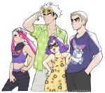 2boys 2girls acerola_(pokemon) alternate_costume arbok closed_mouth dress elite_four eyewear_on_head gen_1_pokemon gen_2_pokemon gen_4_pokemon gen_7_pokemon grey_hair guzma_(pokemon) hands_in_pockets island_kahuna kuchinashi_(pokemon) long_hair multiple_boys multiple_girls open_clothes open_mouth open_shirt pink_hair plumeri_(pokemon) pokemon pokemon_(game) pokemon_sm purugly red_eyes sandygast short_hair short_sleeves shrimposaurus simple_background sleeveless sleeveless_dress spinarak sunglasses trial_captain twintails twitter_username white_background white_hair
