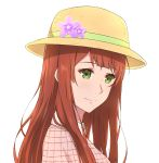 1girl absurdres flower freckles green_eyes hat hat_flower highres long_hair looking_at_viewer luculia_marlborough redhead simple_background solo upper_body violet_evergarden white_background xvii yellow_headwear