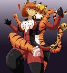 ! 2girls bell black_gloves blonde_hair bodysuit cat_girl cleavage furry gradient_background green_eyes leg_lock leopard multiple_girls orange_hair pawpads red_bodysuit restrained safurantora short_hair smirk tail_wrap tiger tiger_girl tight_clothing unzipped
